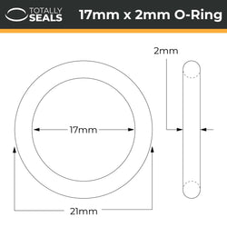 17mm x 2mm (21mm OD) Nitrile O-Rings