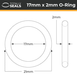 17mm x 2mm (21mm OD) Silicone O-Rings