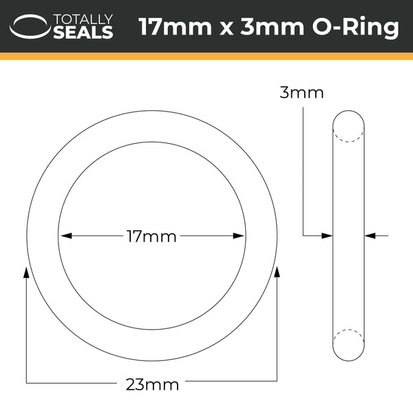 17mm x 3mm (23mm OD) Nitrile O-Rings - Totally Seals