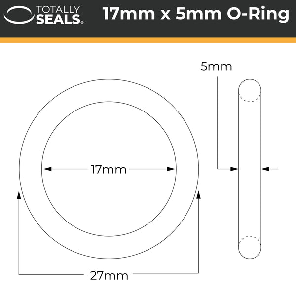 17mm x 5mm (27mm OD) Nitrile O-Rings - Totally Seals