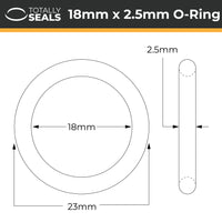 18mm x 2.5mm (23mm OD) Silicone O-Rings - Totally Seals®