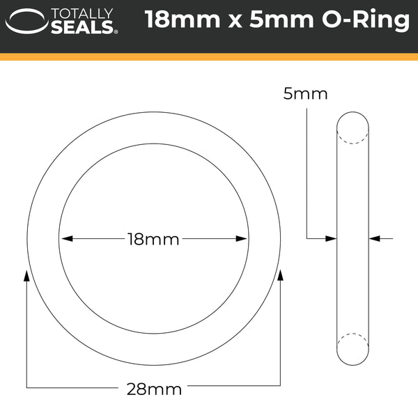 18mm x 5mm (28mm OD) Nitrile O-Rings - Totally Seals