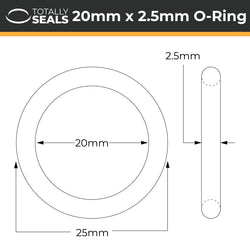 20mm x 2.5mm (25mm OD) Silicone O-Rings