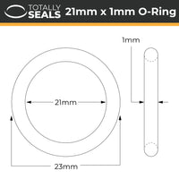 21mm x 1mm (23mm OD) Nitrile O-Rings - Totally Seals