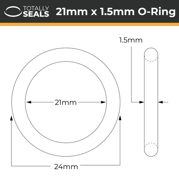 21mm x 1.5mm (24mm OD) Nitrile O-Rings - Totally Seals®