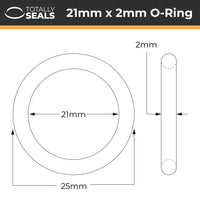 21mm x 2mm (25mm OD) Nitrile O-Rings - Totally Seals