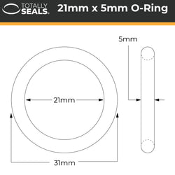 21mm x 5mm (31mm OD) Nitrile O-Rings