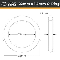 22mm x 1.5mm (25mm OD) Nitrile O-Rings - Totally Seals