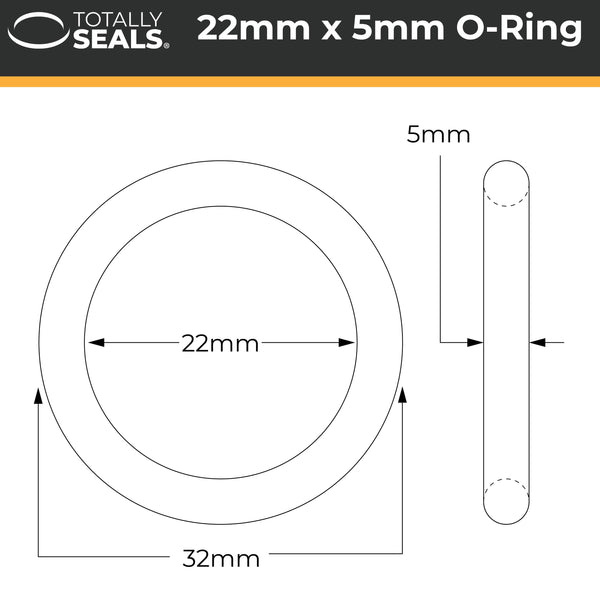 22mm x 5mm (32mm OD) Nitrile O-Rings - Totally Seals®