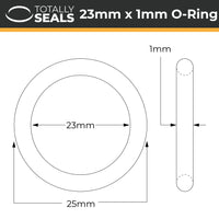 23mm x 1mm (25mm OD) Nitrile O-Rings - Totally Seals