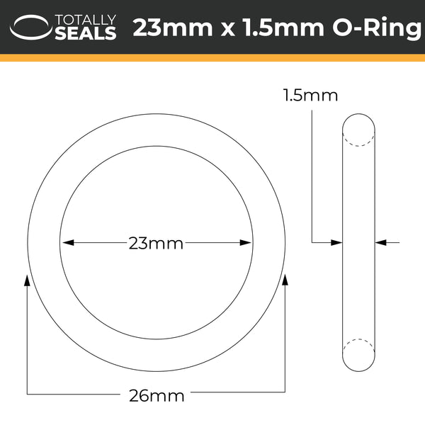 23mm x 1.5mm (26mm OD) Nitrile O-Rings - Totally Seals