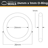24mm x 1mm (26mm OD) Nitrile O-Rings - Totally Seals
