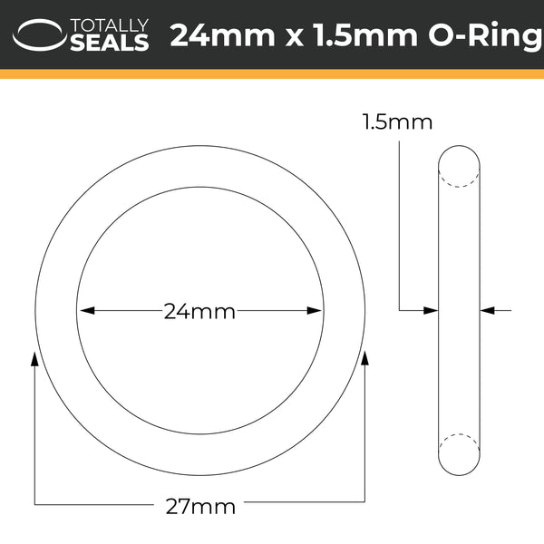 24mm x 1.5mm (27mm OD) Nitrile O-Rings - Totally Seals