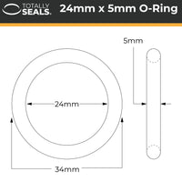 24mm x 5mm (34mm OD) Nitrile O-Rings - Totally Seals®