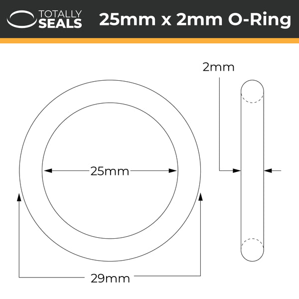 25mm x 2mm (29mm OD) FKM (Viton™) O-Rings - Totally Seals®