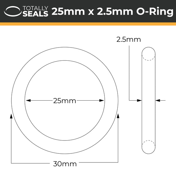 25mm x 2.5mm (30mm OD) FKM (Viton™) O-Rings - Totally Seals®