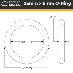 25mm x 5mm (35mm OD) Nitrile O-Rings
