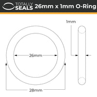 26mm x 1mm (28mm OD) Nitrile O-Rings - Totally Seals