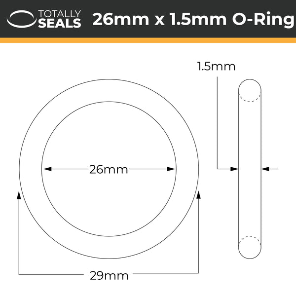 26mm x 1.5mm (29mm OD) Nitrile O-Rings - Totally Seals