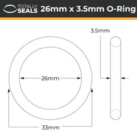 26mm x 3.5mm (33mm OD) Nitrile O-Rings - Totally Seals