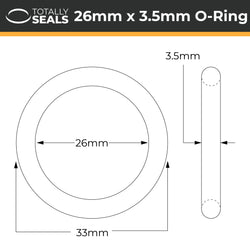 26mm x 3.5mm (33mm OD) Nitrile O-Rings
