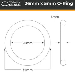 26mm x 5mm (36mm OD) Nitrile O-Rings