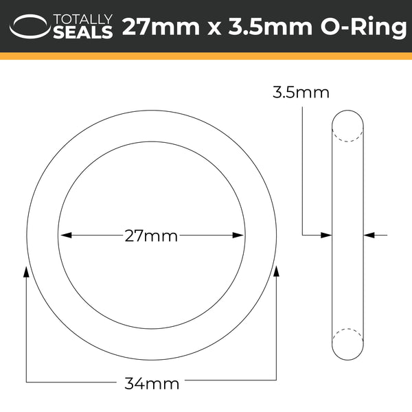 27mm x 3.5mm (34mm OD) Nitrile O-Rings - Totally Seals®