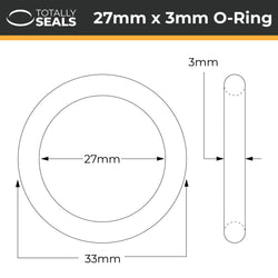 27mm x 3mm (33mm OD) Nitrile O-Rings