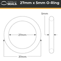 27mm x 5mm (37mm OD) Nitrile O-Rings - Totally Seals