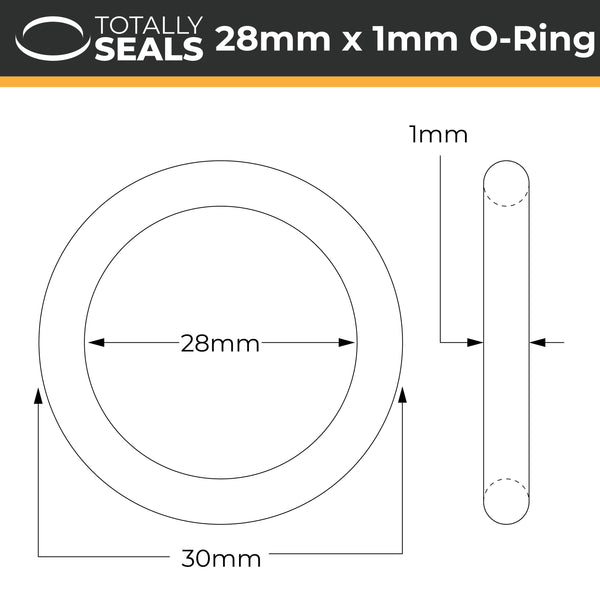 28mm x 1mm (30mm OD) Nitrile O-Rings - Totally Seals