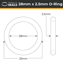 28mm x 2.5mm (33mm OD) Nitrile O-Rings