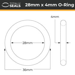 28mm x 4mm (36mm OD) Nitrile O-Rings