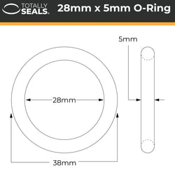 28mm x 5mm (38mm OD) Nitrile O-Rings