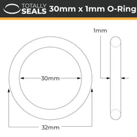 30mm x 1mm (32mm OD) Nitrile O-Rings - Totally Seals®