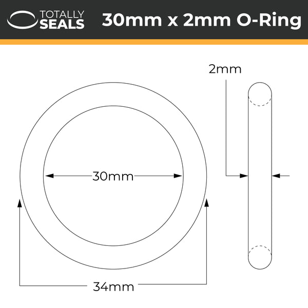 30mm x 2mm (34mm OD) FKM (Viton™) O-Rings - Totally Seals