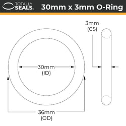 30mm x 3mm (36mm OD) Nitrile O-Rings