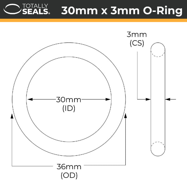 30mm x 3mm (36mm OD) FKM (Viton™) O-Rings - Totally Seals