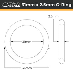 31mm x 2.5mm (36mm OD) Nitrile O-Rings