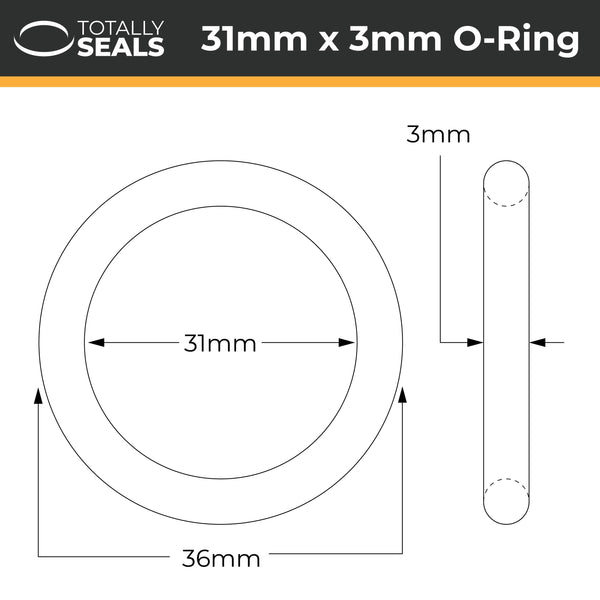31mm x 3mm (37mm OD) Nitrile O-Rings - Totally Seals