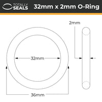 32mm x 2mm (36mm OD) Nitrile O-Rings - Totally Seals
