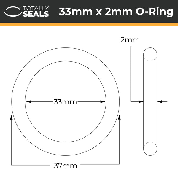 33mm x 2mm (37mm OD) Nitrile O-Rings - Totally Seals®