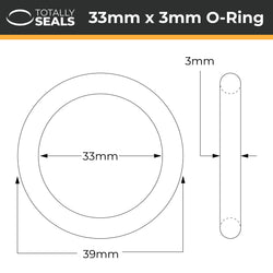 33mm x 3mm (39mm OD) Nitrile O-Rings