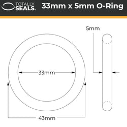 33mm x 5mm (43mm OD) Nitrile O-Rings
