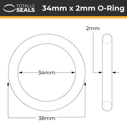 34mm x 2mm (38mm OD) Nitrile O-Rings