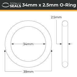 34mm x 2.5mm (39mm OD) Nitrile O-Rings