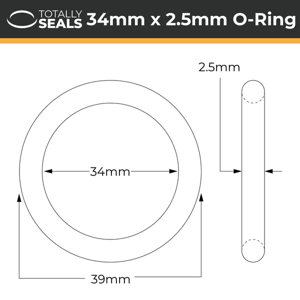 34mm x 2.5mm (39mm OD) Nitrile O-Rings - Totally Seals