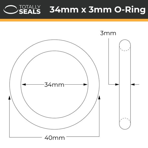 34mm x 3mm (40mm OD) Nitrile O-Rings - Totally Seals®