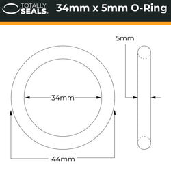 34mm x 5mm (44mm OD) Nitrile O-Rings