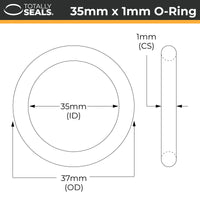 35mm x 1mm (37mm OD) Nitrile O-Rings - Totally Seals®