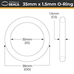 35mm x 1.5mm (38mm OD) Nitrile O-Rings